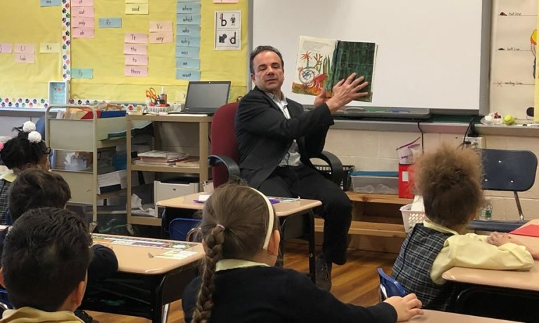 Bridgeport Mayor Surprises St. Raphael Students